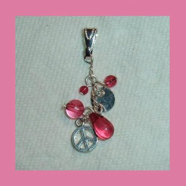 Pink Beads Silver Disc Peace Sign Sterling Silver Dangle Pendant