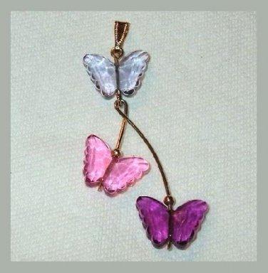 Blue Pink Purple 3 BUTTERFLY Yellow Gold Dangle Pendant