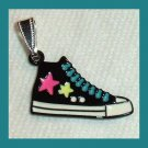 Black White Blue Pink Enamel Basketball Shoe Silver Pendant