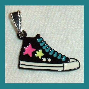Black White Blue Pink Enamel Basketball Shoe Silver Pendant