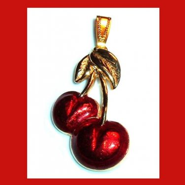 Red Cherries Gold Leaves Yellow Gold Tone Pendant