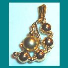 Vintage 5 Yellow Gold Tone Balls in a Half Moon Shape Pendant
