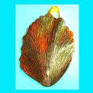 Vintage Yellow Gold Tone LEAF Pendant