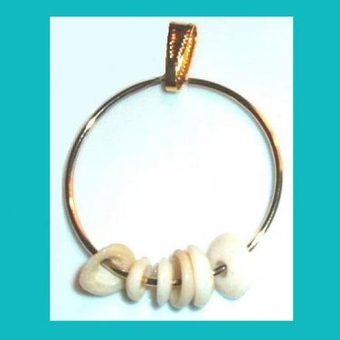 White Seashells on a Yellow Gold Hoop Dangle Pendant