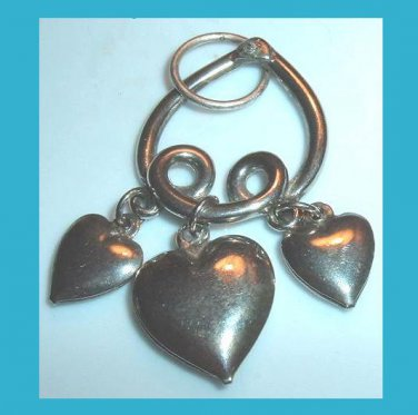 Upside-down HEART and 3 Hollow Dangle HEARTS Silver Pendant
