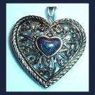 Stylized Design HEART with a Black Stone Cabochon HEART Silver Pendant
