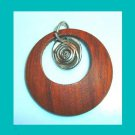 Round Wooden Circle and Silver Spiral Emblem Pendant