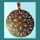 Round Stylized Star Design Yellow Gold Tone Pendant