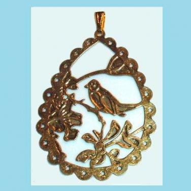 "Pear Shaped Fancy Design Bird Flowers 3"" Yellow Gold Pendant"