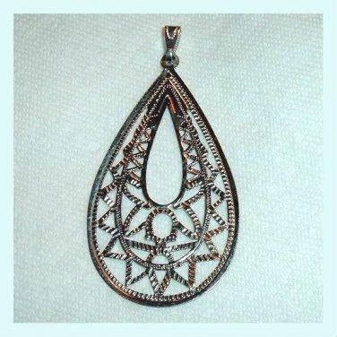 Stylized Design Teardrop Pear Shaped Sterling Silver Pendant
