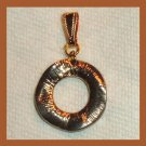 Stylized Design CIRCLE Shaped Yellow Gold Tone Pendant