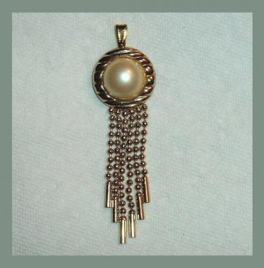 Vintage Round White Button Pearl & 6 Beaded Strands Yellow Gold Tone Dangle Pendant