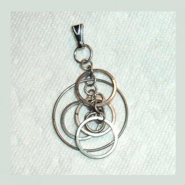 Vintage 6 Silver CIRCLES Dangle Pendant