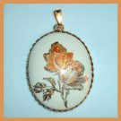 Vintage White Porcelain Orange Roses Oval Gold tone Pendant