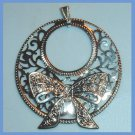 Decorative BOW Scrolling Design Circle in a Circle Sterling Silver Pendant