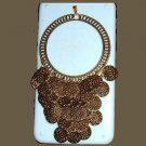 """Large Brass Circle Coin Belly Dancer 6"""" Inch Dangle Gold Bail Pendant"""