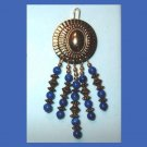 Vintage Round & Oval Dark Blue & Gold Beaded Dangle Pendant