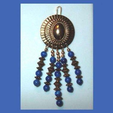 Vintage Round & Oval Dark Blue & Gold Beaded Dangle Pendant