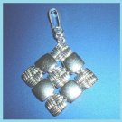 Criss Cross & Solid Squares Diamond Shaped Sterling Silver Pendant