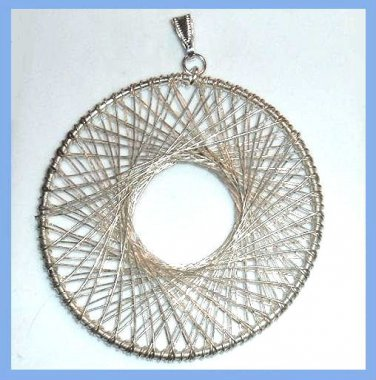 "Sterling Silver Wire Wrapped Circle 3"" inch Pendant"