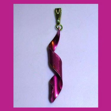 "Purple Violet Curl Spiral Shaped 2"" inch Yellow Gold Pendant"