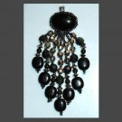 "Large Vintage Black & Carnival Beads 4"" inch Silver Dangle Pendant"