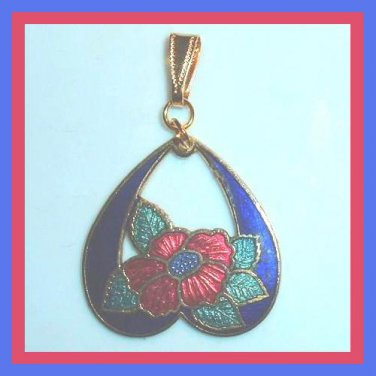 Vintage Blue upside-down Heart Red Rose Flower Green Leaves Yellow Gold Pendant