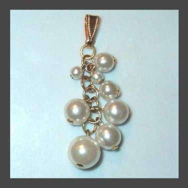 "Vintage White Pearls Yellow Gold 2"" inches long Dangle Pendant"