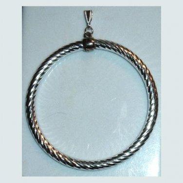 Large Vintage Spiral Design Circle Sterling Silver Pendant