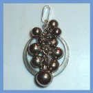 Silver Gray Pearl Berries in a Sterling Silver Circle Pendant
