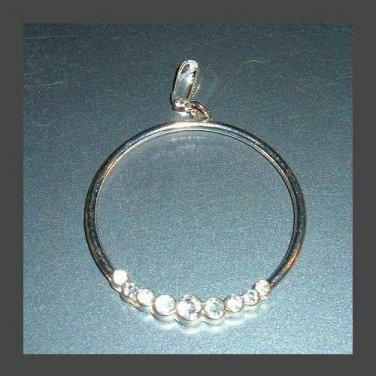 Vintage White Crystals and Silver Circle Pendant