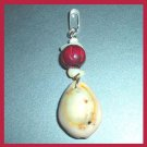 Vintage Seashell & Red Bead Silver Dangle Pendant