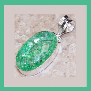 Oval Green Quartz Gemstone Sterling Silver Pendant
