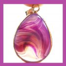 Purple Onyx Pear Shaped Gemstone Silver Pendant