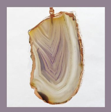 18K Yellow Gold Freeform Slice of Tan Purple White AGATE Pendant