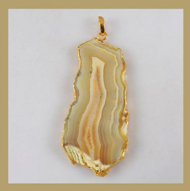 18K Yellow Gold Freeform Slice of Tan and Brown AGATE Gemstone Pendant