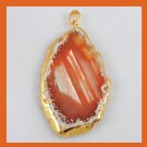 18K Yellow Gold Freeform Slice of Orange & White AGATE Gemstone Pendant