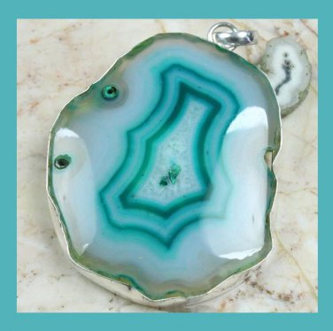 Blue Onyx Round Gemstone 925 Sterling Silver Pendant