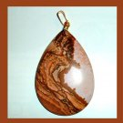 PICTURE JASPER Brown White Tan Pear Cut Teardrop Gemstone 10K Yellow Gold Pendant