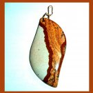 PICTURE JASPER Brown White Tan Fancy Cut Gemstone 10K Yellow Gold Pendant