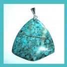 OCEAN JASPER Teal Blue Turquoise Triangle Shaped Gemstone Sterling Silver Pendant