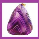 Purple Lavender AGATE Triangle Shaped Gemstone 10k Yellow Gold Pendant