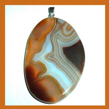 Brown White Black AGATE Freeform Shaped Gemstone Sterling Silver Pendant