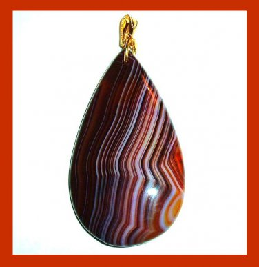 Brown Striped AGATE Teardrop Shaped Gemstone 10k Yellow Gold Pendant