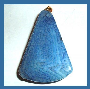 Blue Crackle QUARTZ Bell Shaped Gemstone 10k Yellow Gold Pendant