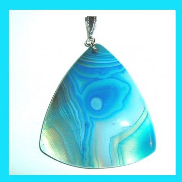 Blue and White ONYX Triangle Shaped Gemstone 925 Sterling Silver Pendant