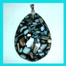 White SEA SHELLS in Black Teardrop 925 Sterling Silver Pendant