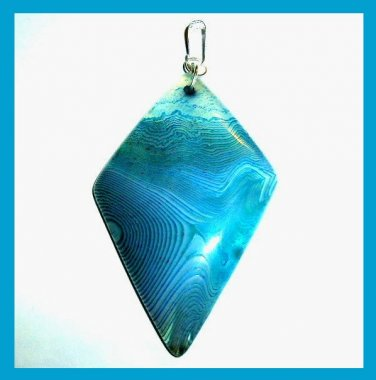 Blue Green AGATE Kite Shaped Trapezoid Gemstone 925 Sterling Silver Pendant