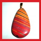 Orange Red RAINBOW AGATE Teardrop Gemstone 10K Yellow Gold Pendant