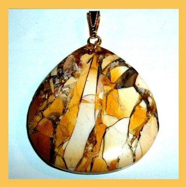 PICTURE JASPER Brown Yellow Black Cream Freeform Gemstone 10k Yellow Gold Pendant